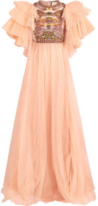 Gucci Embellished Pleated Tulle Gown - Peach