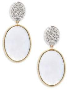 Marco Bicego Hand-Engraved Diamond, Chalcedony and 18K Yellow Gold Drop Earrings