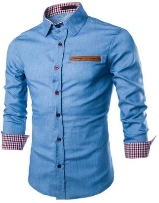 Blend of America iShine Men's Cotton Flannel Jeans Long Sleeve Slim Fit Button Down Dress Shirt