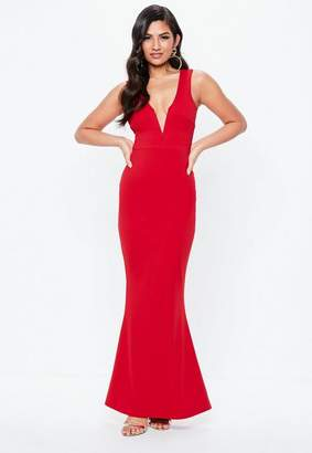 Missguided Red Plunge Maxi Dress, Red