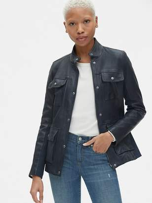 Gap Utility Leather Jacket with Rib-Knit Trim