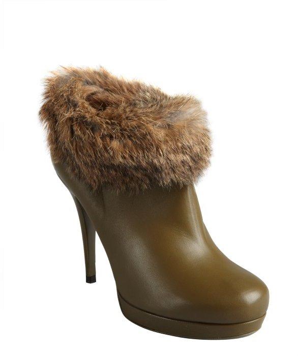 Saint Laurent green leather wild rabbit lined platform booties
