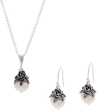 Or Paz Sterling Silver Cultured Pearl Necklace & Earrings Set