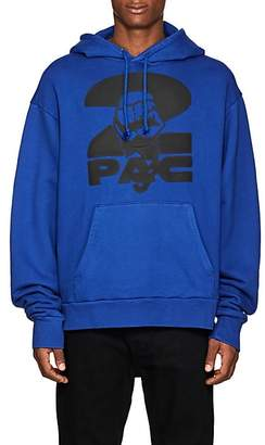 Tupac by 424 Men's Fist-Print Cotton Terry Oversized Hoodie - Blue