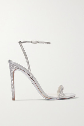 Rene Caovilla Crystal-embellished Metallic Leather And Satin Sandals