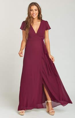 Show Me Your Mumu Noelle Flutter Sleeve Wrap Dress ~ Merlot Chiffon