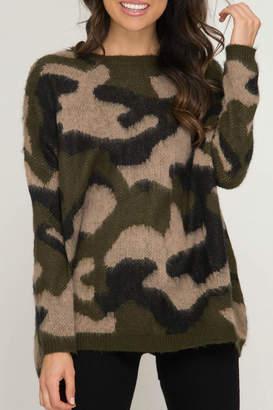 She + Sky Soft Camo Sweater