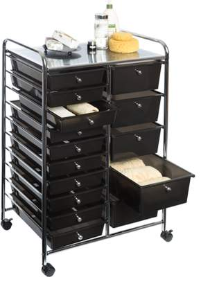 Seville Classics 15-Drawer Organizer Cart w/ Wheels, Black