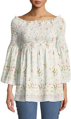Max Studio Smocked Off-The-Shoulder Floral Blouse