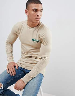 Asos DESIGN muscle long sleeve t-shirt with chest print