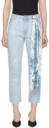 Off-White Blue Bleached Crop Jeans