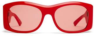 Balenciaga Oversized Round Acetate Sunglasses - Womens - Red