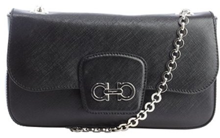 Salvatore Ferragamo black leather 'Rory' chainlink shoulder bag