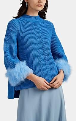 Fendi Women's Fur-Trimmed Cashmere Sweater - Blue
