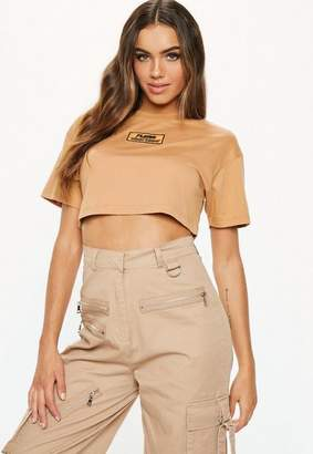 Missguided Fanny Lyckman X Camel Logo Cropped T-Shirt