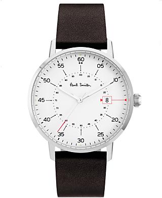 Men's Gauge Date Leather Strap Watch