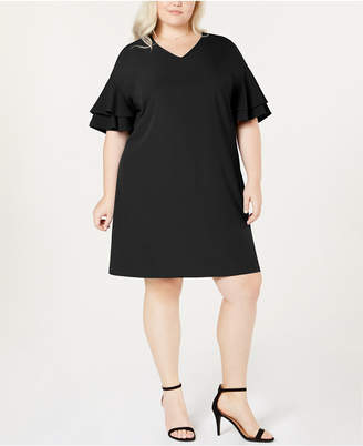 ECI Plus Size Ruffle-Sleeve A-Line Dress