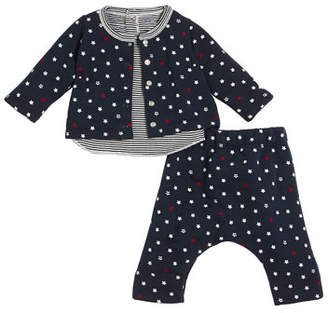 Petit Bateau Star-Print Cardigan & Pants w/ Striped Top, Size 1-12 Months