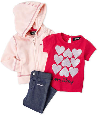 DKNY Infant Girls) 3-Piece Zip-Up Hoodie & Jeggings Set