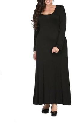 24/7 Comfort Apparel Women's Plus Size Long Sleeve Scoop Neck Maxi