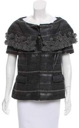 Rena Lange Fringe-Trimmed Tweed Jacket