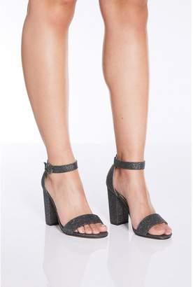 Quiz Pewter Glitter Block Heel Sandals