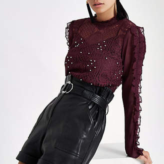 River Island Womens Dark red lace long sleeve top