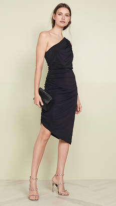 Halston One Shoulder Ruched Dress