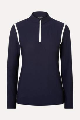 Tory Sport Striped Stretch-waffle Knit Top - Navy
