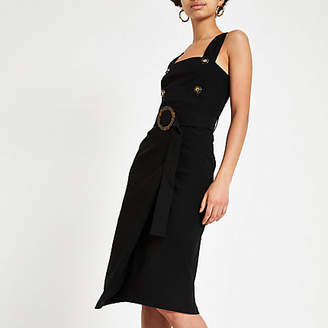River Island Black belted waist pinafore bodycon dress