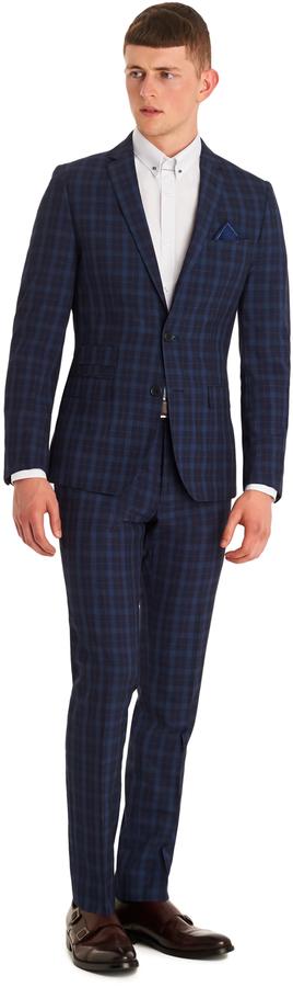 Moss London Slim Fit Blue Check Suit