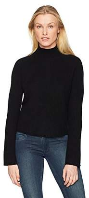 Minnie Rose Women's 100% Cashmere Ribbed Mock Sweater