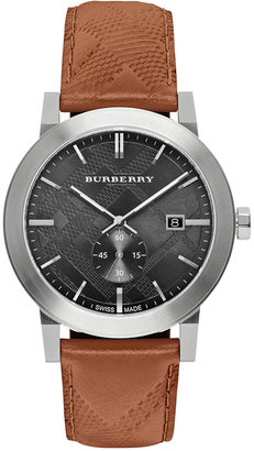 Burberry Men's Swiss Chronograph The City Brown Leather Strap Timepiece 42mm BU9905 $495 thestylecure.com