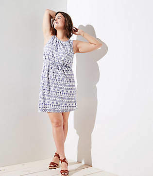 LOFT Plus Eyelet Print Shift Dress