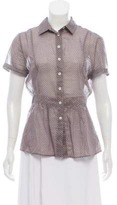 Burberry Short Sleeve Button-Up Top