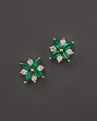 Emerald and Diamond Flower Stud Earrings in 14K Yellow Gold - 100% Exclusive $2,600 thestylecure.com