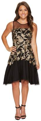 Tahari ASL Petite Embroidered Mesh Party Dress Women's Dress