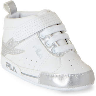Fila Infant Girls) White & Silver High-Top Sneakers