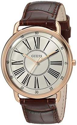 GUESS Women's Quartz Stainless Steel and Leather Watch
