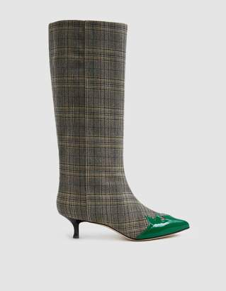 Tibi Evin Plaid Patent Boot