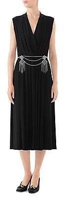 Gucci Women's V-Neck Pleated Jersey Cocktail Dress