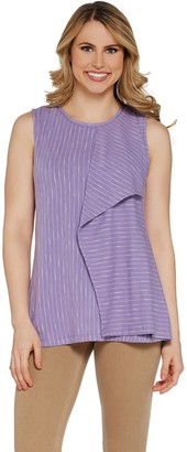 Halston H By H by Striped Sleeveless Tank with Flounce Drape