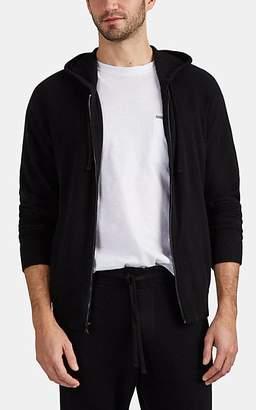 James Perse Men's Brushed Baby-Cashmere Zip-Front Hoodie - Black