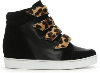Daniel Camley Black Leather & Suede Concealed Wedge High Top Trainers