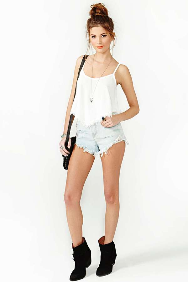 Nasty Gal Summer Lace Crop Tank - Ivory