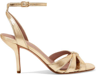Diane von Furstenberg Felicity Metallic Textured-leather Sandals - Gold