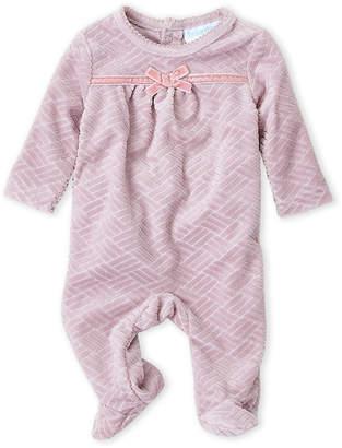 Baby Essentials Baby Dove (Newborn Girls) Cable Knit Pattern Velour Footie