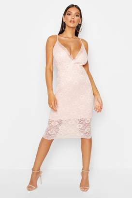 boohoo Lace Plunge Midi Dress