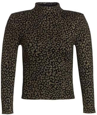 A.L.C. Maeve Metallic Leopard Print Top