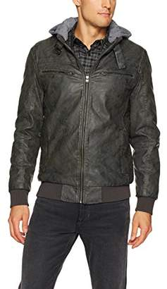 X-Ray Men's Slim Fit Washed Faux Leather Moto Jacket with Removable Hoodie